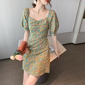韓系 洋裝 2020夏季法式V領泡泡短袖收腰顯瘦a字氣質小碎花連身裙子女1012 T624 依品國際