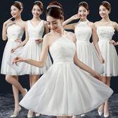 伴娘服短款新款春夏季韓版伴娘團姐妹裙女白色婚禮顯瘦小禮服