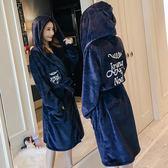 韓版睡衣女秋冬法蘭絨帶帽睡裙卡通加厚絨保暖性感珊瑚絨睡袍浴袍 一條街