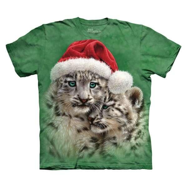 【摩達客】(預購)美國進口The Mountain 聖誕雪豹 純棉環保短袖T恤(10415045429)