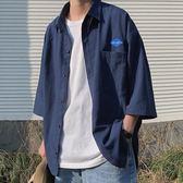 工裝襯衫男韓版潮流帥氣短袖休閒港風外套潮牌寬鬆心機設計感襯衣 滿天星