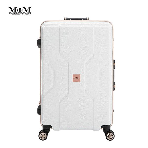 MOM JAPAN日本品牌 新款 輕量化鋁框亮面 PP材質 行李箱/旅行箱 -24吋-白 M3002