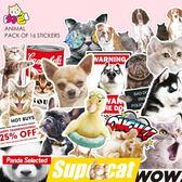 【春季上新】個性可愛貓狗動物貼紙潮流惡搞筆記本電腦行李箱防水拉桿箱子貼畫