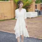 蛋糕裙 夏v領短袖收腰連身裙遮胯仙女白裙子中長款蛋糕裙-Ballet朵朵