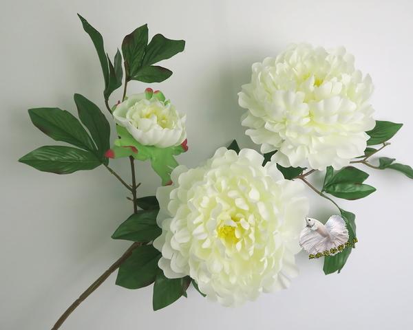[白色] 仿真3頭大牡丹花 假牡丹 芍藥 人造花花束 ~~ 插花.居家.店面.櫥窗擺飾.園藝