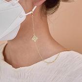 口罩鍊 閃耀小鑽幸運草口罩鍊Pa-1725-創翊韓都