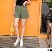 《BA4065》橫條紋腰圍帶不易皺修飾A字短褲 OrangeBear