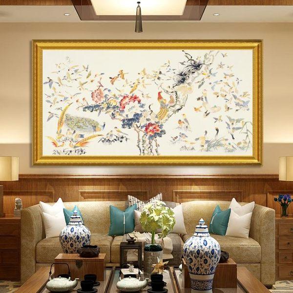 百子圖畫客廳辦公室掛畫百鳥朝鳳圖畫大氣單幅沙髮後背景牆裝飾畫·享家生活館YTL