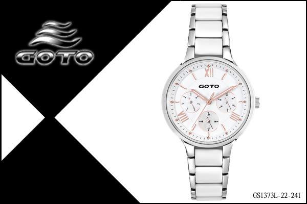 【時間道】[GOTO。錶]氣質淑女羅馬刻三眼腕錶/白陶瓷+不繡鋼錶帶(GS1373L-22-241)免運費