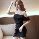 洋裝 小禮服 一字領連身裙女夏新款氣質性感露肩顯瘦緊身不規則荷葉邊包臀裙子 韓風