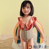 兒童泳衣女連體三角小公主學生溫泉泳裝【淘夢屋】