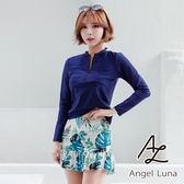 比基尼泳裝-日本品牌AngelLuna 現貨 深藍水母衣黃色印花褲裙三件式比基尼溫泉沙灘泳衣
