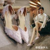 粗跟高跟鞋 單鞋女2018新款夏季韓版百搭尖頭粗跟乖乖瓢鞋cx516【棉花糖伊人】