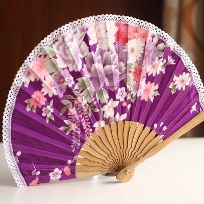 扇子 蕾絲邊 紫底百花