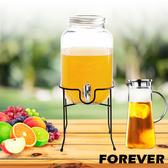 【日本FOREVER】夏天必備派對玻璃果汁飲料桶(含桶架)4L送耐熱玻