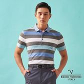 【Emilio Valentino】范倫鐵諾經典橫條紋polo衫 - 藍/灰條紋
