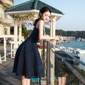 復古文藝女神優雅氣質吊帶洋裝夏韓版學生A字中長款度假裙禮服  麥琪精品屋