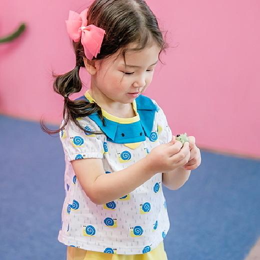 套裝 韓國 Bebezoo 短袖上衣+短褲 套裝2件組 - 藍色蝸牛雨滴 BE17-SET207