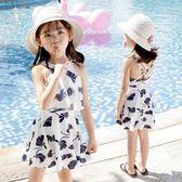 兒童泳衣女孩中大童韓國連體裙式平角學生女
