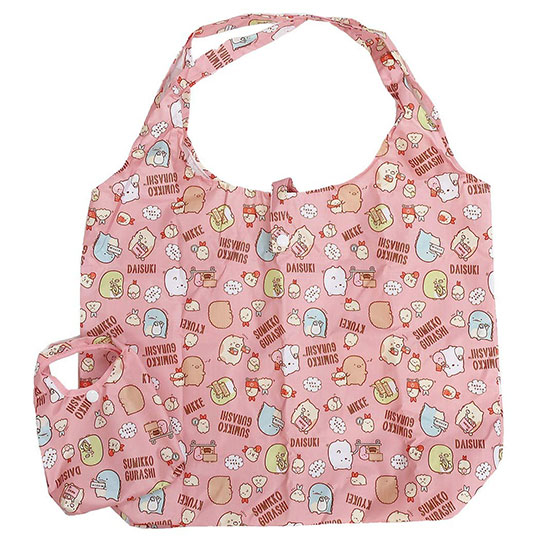 〔小禮堂〕角落生物 折疊尼龍環保購物袋《粉.購物滿版》手提袋.環保袋 4930972-48132
