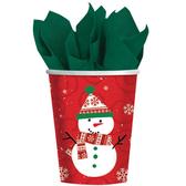 聖誕 餐具 9oz紙杯8入-歡樂雪人