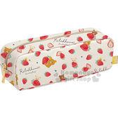 〔小禮堂〕拉拉熊 防水拉鍊筆袋《米白.草莓.滿版.朋友》草莓派對系列 4974413-70475
