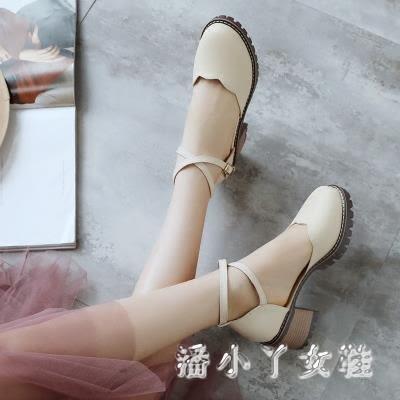 夏季韓版包頭鞋女復古粗跟淺口女鞋綁帶百搭高跟鞋 XW2149【潘小丫女鞋】