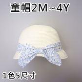 現貨 小清新藍色印花蝴蝶結草帽 1款5尺寸   《寶寶熊童裝屋》