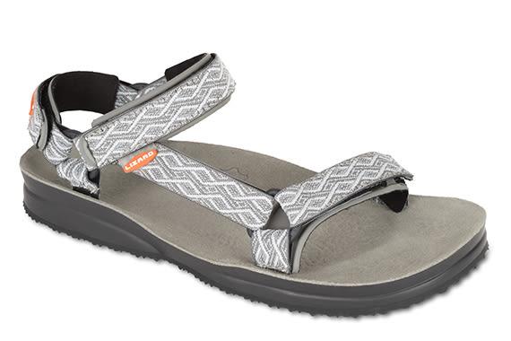 Lizard 義大利 Super Hike健行家黃金底涼鞋-真皮墊PU LI11078/EA灰彩紋 Vibram 涼鞋 拖鞋【易遨遊】