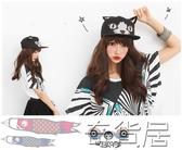 棒球帽女春夏女立體刺繡嘻哈帽小貓耳朵平沿嘻哈棒球帽