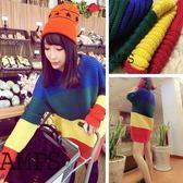 ZUCAS~(RT-8490)復古學院彩虹拼色條紋寬鬆毛衣針織上衣
