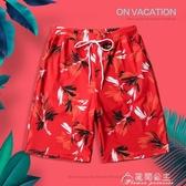 沙灘褲-情侶騷氣套裝海邊度假泳褲性感速干泡溫泉褲寬鬆短褲 花間公主