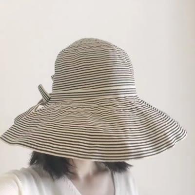 日繫漁夫帽女生百搭撞色條紋盆帽休閒遮陽帽蝴蝶結小清新森女帽子  蜜拉貝爾