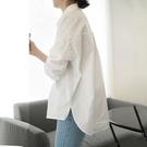襯衣女設計感小眾春季長袖上衣2021新款韓版POLO領寬松白色襯 快速出貨