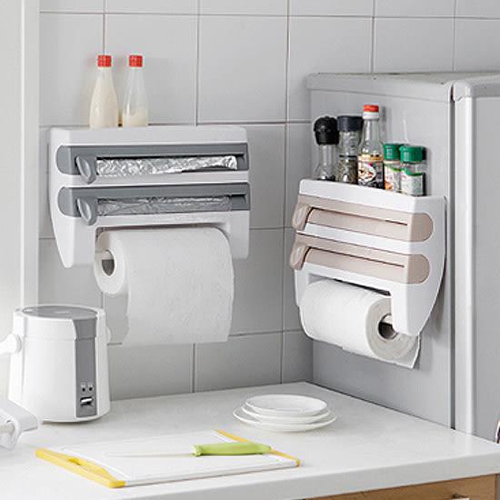 ♚MY COLOR♚保鮮膜紙巾置物架 鋁箔紙 錫箔紙 切割 裁切 調味料 瓶罐 黏貼 可釘 廚房【W42】