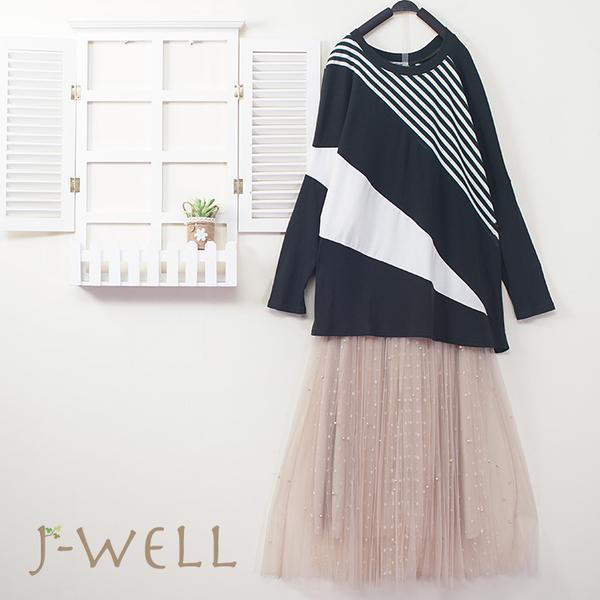J-WELL 條紋色塊上衣網紗裙二件組(組合A446 9J1043綠+9J1038卡)