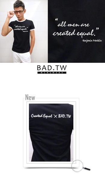 奢華壞男《人人平等限量款 - 超舒適彈性合身剪裁T恤 (黑底白邊) 》【M / L / XL / 2L / 3L】