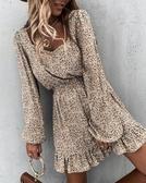 荷葉洋裝 新款長袖松緊腰荷葉邊印花連身裙 萬聖節鉅惠