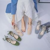粗跟涼鞋 涼鞋女交叉綁帶淺口溫柔鞋日繫粗跟中空繫帶包頭仙女鞋夏 曼慕衣櫃