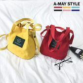包包-日系帆布斜背手提水桶包