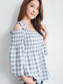 單一優惠價[H2O]蝴蝶結肩帶可拆久帶絲設計顯瘦中長版上衣 - 粉/淺藍色 #9685012