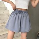 雪紡短褲 雪紡寬管短褲女夏寬鬆新款高腰a字顯瘦薄款休閒運動短褲外穿-Ballet朵朵