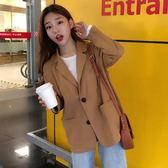 秋裝新款韓版chic小西裝外套女復古洋氣西服寬鬆休閒短款上衣 喵小姐