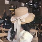 熱賣平頂帽平頂綁帶拉菲草草帽ins網紅蝴蝶結毛邊女夏季度假沙灘大檐遮陽帽 coco