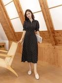 雪紡洋裝波點短袖雪紡連身裙女2020年夏季新款韓版寬鬆顯瘦遮肚子中長裙女 suger