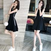無袖洋裝 小心機復古修身顯瘦小黑裙背心裙女夏季韓版小清新系帶無袖洋裝 魔法鞋櫃