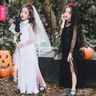 萬聖節服裝 萬聖節兒童服裝女童暗黑天使惡魔鬼新娘長裙吸血鬼女巫婆學校表演『Sweet家居』