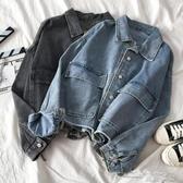 (快出)ins潮秋冬季流行寬鬆牛仔外套短款女新款港味復古單排扣上衣