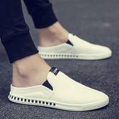 夏季新款包頭半拖鞋男一腳蹬透氣無后跟休閒白鞋懶人涼拖學生涼鞋 潮人女鞋