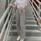 睡褲 夏季格子睡褲女長褲純棉薄款日系可外穿寬鬆大碼單件家居褲-Ballet朵朵